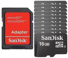 Lot 10 x SanDisk 16GB 16G microSD microSDHC C4 micro SD TF bulk Wholesale +Red A