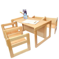 Childrens Multifunctional Furniture 1 Large Table & 4 Small Chairs Beech Wood