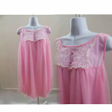 50s Vintage Nightie Size M Pink Babydoll Lace Nylon Nightgown Negligee Dress 60s