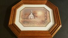 Vintage Homco Home Interior Matted Framed Church Print By Dallas Woodcraft Wood