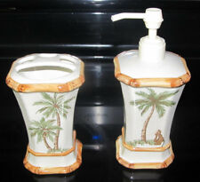 Springmaid PALM BREEZE Bath Soap / Lotion Pump and Toothbrush Holder Tropical