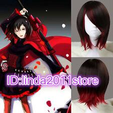 Ruby Corto Recto Peluca Marrón Y Rojo sintéticas Anime Cosplay Disfraz Peluca