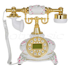 White Flower Retro Vintage Style Push Button Antique Telephone Dial Desk Phone