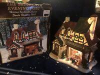 Saturday Evening Post Norman Rockwell Lighted Village House SANTA'S WORKSHOP EUC