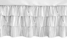 Woodland Grey White Wood Grain Ruffled Tiered Baby Dust Ruffle Crib Bed Skirt
