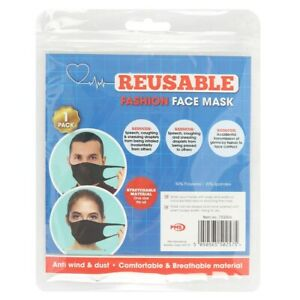 REUSABLE BLACK ADULT FACE MASK Stretchy Fashionable Covering Unisex Washable NEW