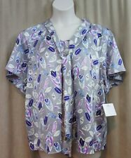 Tattoo Me Blouse Sz 2X Gray Multi Color Feather Print Business Casual Top Blouse