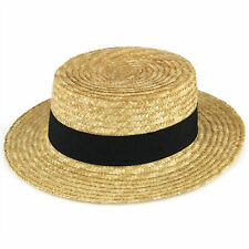 Mens / Ladies Straw Boater Hat Summer Gondolier Natural with Black Band