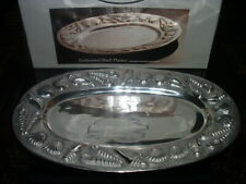 Estate Collection Embossed Shell Design Metal Platter Tray by Home Accents - New