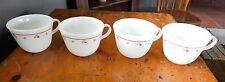 4 Corning Corelle Pyrex Burgundy Rose Milk Glass Coffee Cup  USA Vintage
