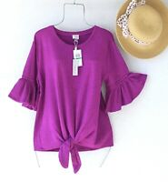 New~$68~Raspberry Pink Crochet Lace Trim Blouse Spring Boho Top~Size Medium M