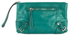 Michael Kors Fallon Zip Wristlet Clutch Bag Aqua Green Crinkled Leather RRP £155