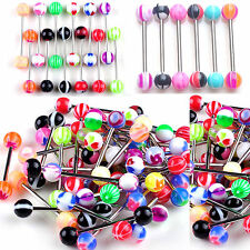 20X  premium Tongue Tounge Nipple Ear Ring bars BARBELL BODY PIERCING JEWELRY CL