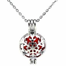 K443 Silver Alloy 26mm Christmas Snowflake Xmas Steel Necklace Beads Cage