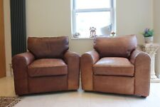 2 halo armchairs aniline vintage brown leather