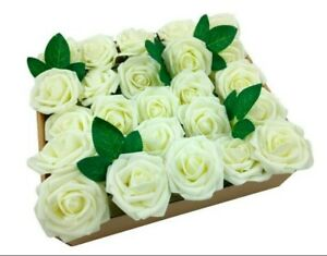 50pcs Real Touch Artificial Foam Roses Decoration DIY for Wedding Ivory new