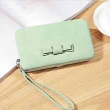 New Trendy Women Bwoknot Wallets Card Holder Detachable Hand Strap Leather Purse