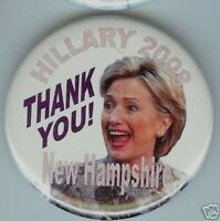 HILLARY Clinton 2008 pinbackThank You ! NEW HAMPSHIRE Primary CAMPAIGN  pin
