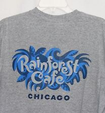 Rainforest Cafe Chicago Shirt Top Gray Grey Logo Adult Unisex Blue Swirl Logo M