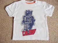 BABY BOYS WHITE T-SHIRT WITH ROBOT PRINT FROM ZARA AGE 3-6 or 6-9 MONTHS BNWOT