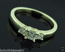 3 Stone 14k Solid Yellow Gold 0.60 ct Princess Diamond Ring Wedding Engagement