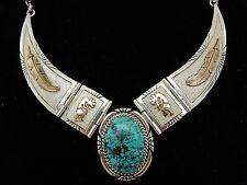 Southwestern Style Sterling Silver Gold Filled Necklace Blue Stone Sku 7.5.30.19