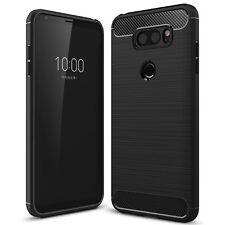 LG V30 - Membrane Premium Carbon Fibre Black TPU Gel Bumper Shock Case Cover