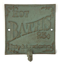 Cast Iron Wall Mount Hook Plaque Hot Baths 25 Cents Western Rustic Decoration