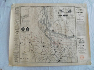 Cyclists Road Map Portland Oregon OR 1896 Poster Print Bicycle Cycling 1973 ed.