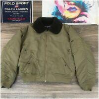 Vintage Polo Ralph Lauren Down Bomber Flight Jacket Mens Size L Military Sherpa