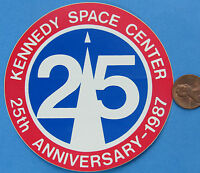 NASA STICKER vtg KENNEDY SPACE CENTER 25th Anniversary 1987 Red White Blue