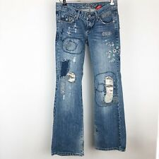 Vanilla Star Size 3 Denim Distressed Jeans Embroidery