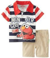 Elmo Infant Boys Striped Polo Two-Piece Short Set Size 12M 18M 24M