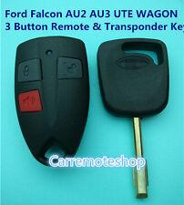 Ford Falcon 3 Button Remote & Transponder Key suits AU2 AU3 Falcon UTE WAGON