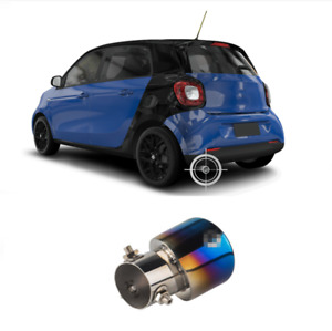 For Smart Fortwo 2015-2018 Blue Stainless Rear Exhaust Muffler Tip End Pipe Trim