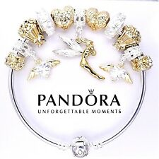 Authentic Pandora Bracelet Silver with ANGEL PRINCESS GOLD LOVE European Charms