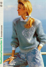 ~ Knitting Pattern For Lady's Lovely Snowflake Mohair Sweater  ~