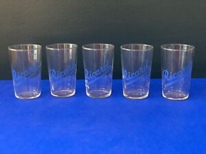 Five Vintage French Ricard Pastis Small Bar Glasses Early Design Blue Lettering