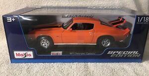 1971 Chevrolet Camaro Z28 ~ Orange ~ 1:18 Metal Die Cast Car ~ Maisto