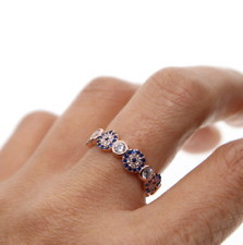 Genuine Rose Gold Plated Greek Turkish Cubic Zircon Evil Eye Ring