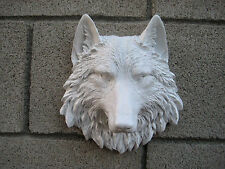 White Faux Wolves Head Wall Mount Decoration Lodge Cabin Log  Taxidermy