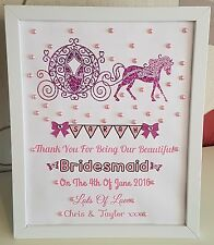 Personalised Carriage Frame Bridesmaid/Flower Girl Thank You Gift/Wedding Favour
