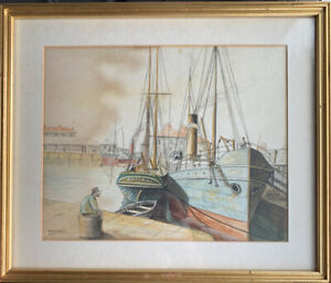Original Painting Depicting Ships / naval Scene. By W Freeman