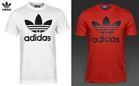 Adidas Originals Men Trefoil White & Red Gym Slim Fit Cotton T shirt Top S XXL