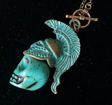 Ghost Warrior Necklace Turquoise Howlite Skull Pendant Brass Chain
