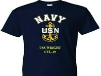 USS WRIGHT  CVL-49  VINYL & SILKSCREEN NAVY ANCHOR SHIRT.