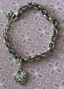 "Brighton CONTEMPO Heart Charm PLUS Adjustable ROLO Bracelet Silver 8"""