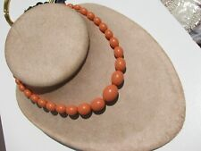 VTG. CORAL CELLULOID OBLONG FOOTBALL SHAPE GRADUATING BEADS 12KGF CLASP NECKLACE