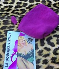 French 1960s Women Coin Key Wallet~Boysenberry Pink Suede Leather~Unused Vintage