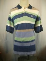 Mens IZOD Multicolored Striped 100% Cotton SS Golf Polo Casual Shirt  sz L